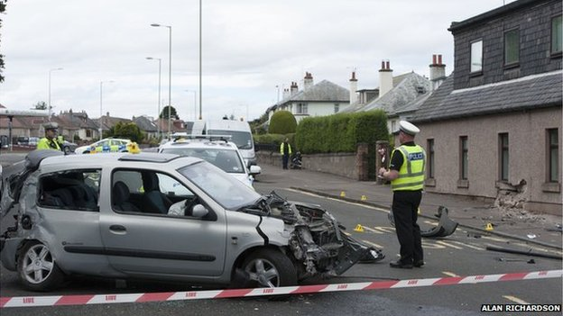 Damaged Renault Clio in Ancrum Road in Dundee
