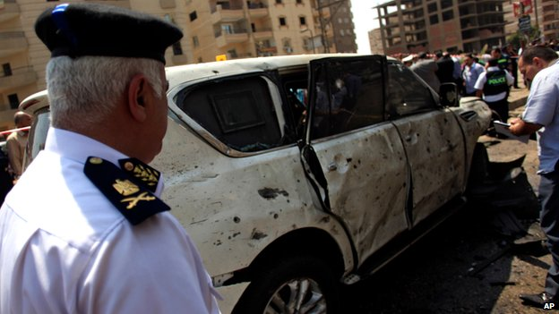 Scene of bomb attack in Nasr City, Cairo, on 5 September 2013
