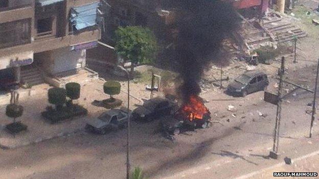 Scene of bomb attack in Nasr City, Cairo, on 5 September 2013