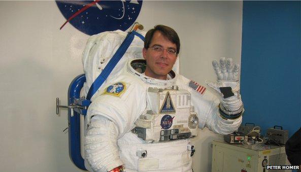 Peter Homer in astronaut suit