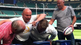 Former England players Jeff Probyn (left), Brian Moore, Jason Leonard and Dewi Morris at the session at Twickenham