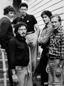 Director Lawrence Kasdan (front) with some of the stars of The Big Chill