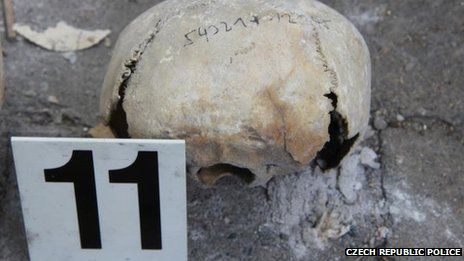One of the skulls discovered near a school in the Vinohrady district of Prague in the Czech Republic