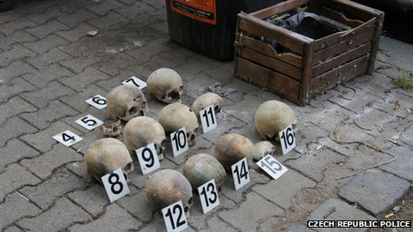 Some of the skulls found near a school in the Vinohrady district of Prague in the Czech Republic