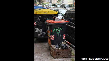 The bin and crate where the skulls in Prague, Czech Republic, were found early on Thursday 5 September 2013