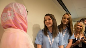 School Reportes Lauren, Holly and teacher Ms Mole with Malala