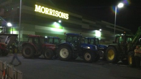 Farmers blockade Morrisons