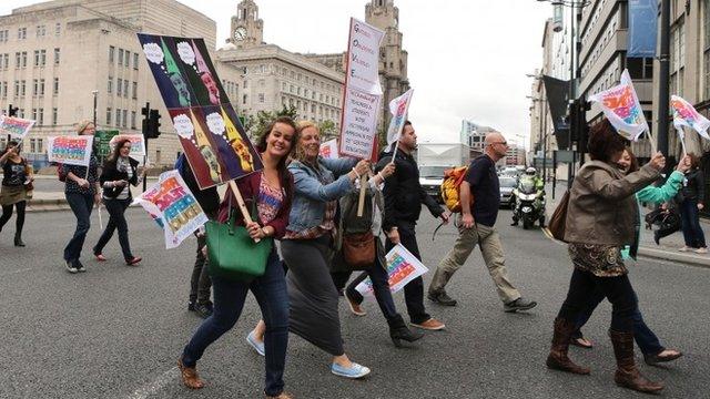 Teachers on strike - file image