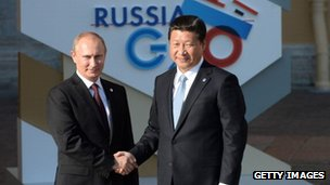 Russian President Vladimir Putin with  China's Xi Jinping