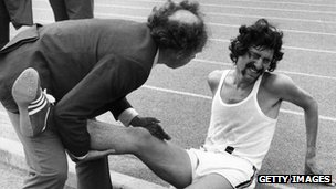 An injured David Bedford in 1971