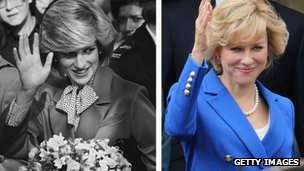 (l-r) Diana, Princess of Wales and Naomi Watts, in the role of Diana