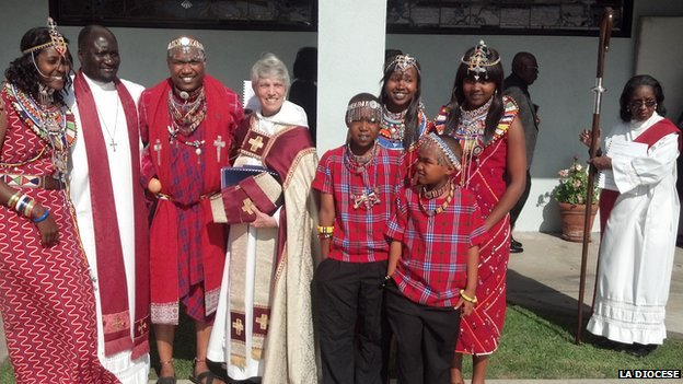 Picture of Bishop Mary Glasspool at the institution of the Rev. Joseph Oloimooja as Rector of Christ the Good Shepherd Episcopal Church in Los Angeles on April 21, 2012