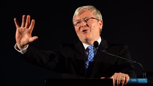 Kevin Rudd speaks at a rally in Sydney on 6 September 2013