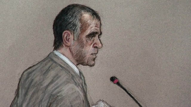 Court drawing of Michael Le Vell