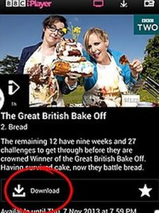 BBC iPlayer with download button