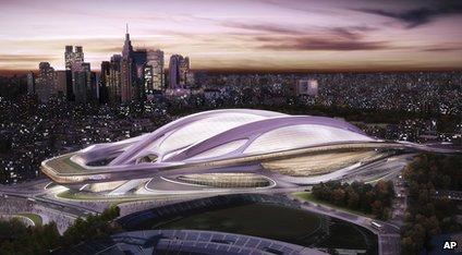 Artist impression of the 2020 Tokyo Olympic Stadium