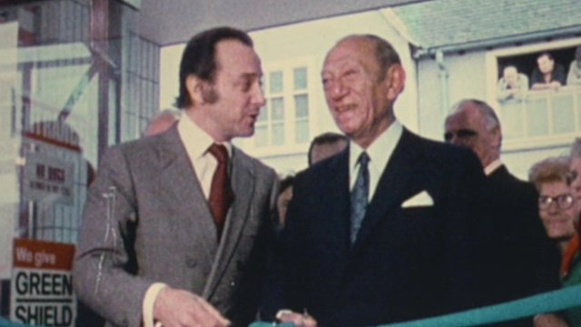 Jack Cohen opening a new Tesco supermarket with the late TV presenter David Jacobs