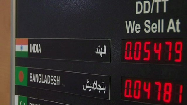 A board showing currency exchange rates