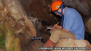 Archaeologists Ian Smith at Kents Bank Cavern