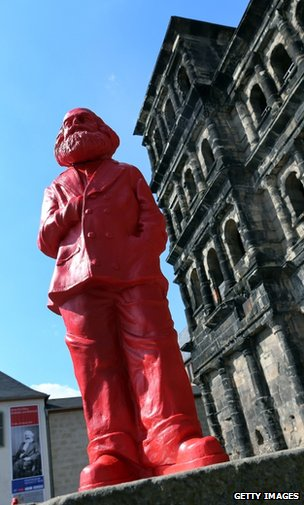 A model of Karl Marx at an art installation in Trier, Germany, May 2013