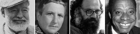From left: Ernest Hemingway, Gertrude Stein, Allen Ginsberg and James Baldwin