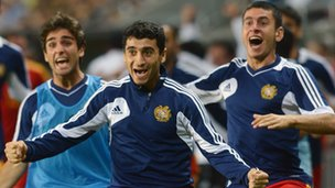 Armenia players celebrate