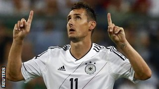 Miroslav Klose celebrates his goal against Austria
