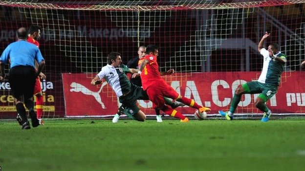Ivan Trickovski puts Macedonia ahead against Wales