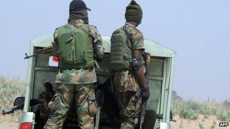 Soldiers in Borno state, Nigeria - April 2013