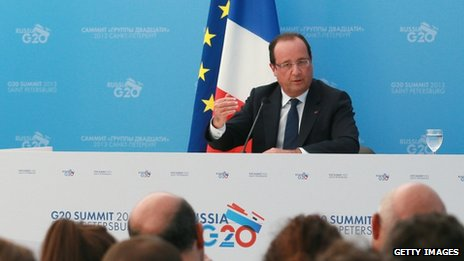 President Francois Hollande at the G20 summit (6 Sept 2013)