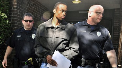Suspect Daquan Breland is led by police in Wilkes-Barre, Pennsylvania on 6 September 2013