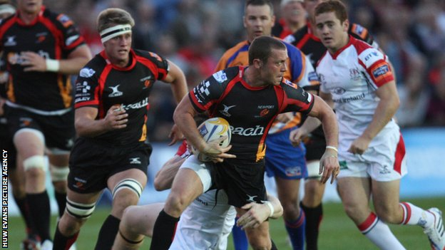 Dragons' Richie Rees in action against Ulster