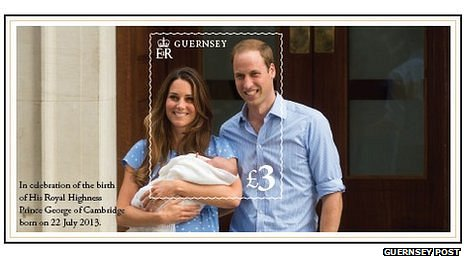 Guernsey stamp showing Catherine, Duchess of Cambridge, Prince William and their son Prince George