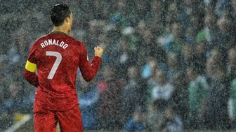 Cristiano Ronaldo scored a hat-trick for Portugal at Windsor Park