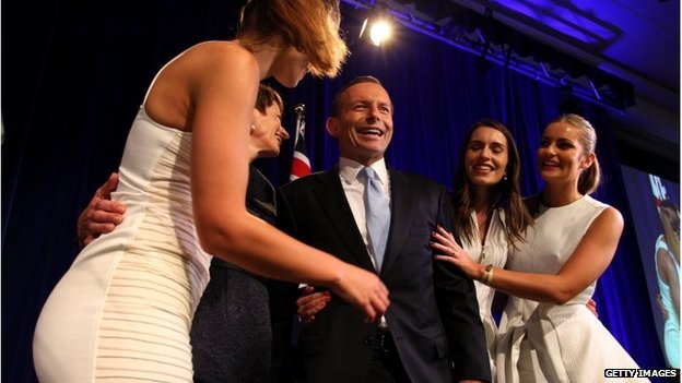 Tony Abbott and his wife Margie Abbott, and daughters Louise, Bridget and Frances celebrate after winning the 2013 Australian Election on 7 September