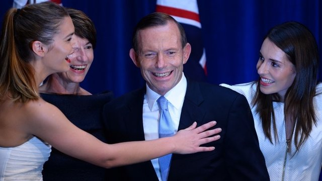Tony Abbott with his daughters