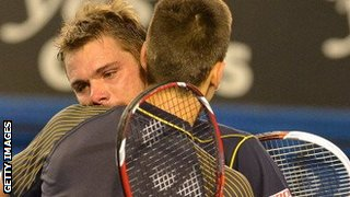 Stanislas Wawrinka with Novak Djokovic