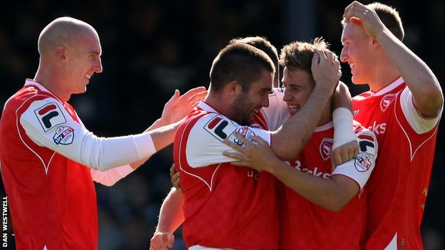 Morecambe's players celebrate