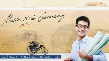"A screenshot of the ""Make it in Germany"" guide from the German government"