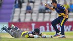 Dean Cosker celebrates after Hampshire batsman Neil McKenzie is run out during Glamorgan's YB40 semi-final.