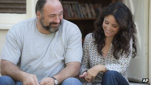 James Gandolfini and Julia Louis-Dreyfus in a scene from Enough Said