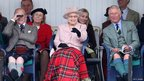 The Duke of Edinburgh, the Queen and Prince Charles at the Braemar Gathering