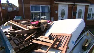 The aftermath of flooding at St Joseph's Court in Redcar