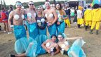 Friends dressed as mermaids