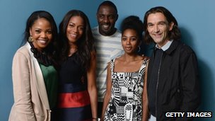 Terry Pheto, Naomie Harris, Idris Elba, Lindiwe Matshikiza and director Justin Chadwick of Mandela: Long Walk to Freedom