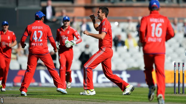 Ravi Bopara, Steve Finn and Eoin Morgan