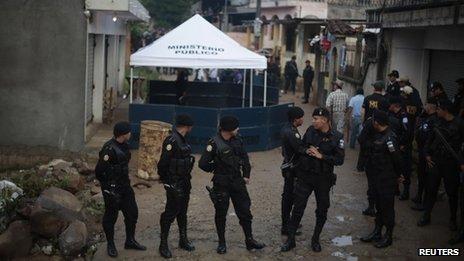 Crime scene in S J Nacahuil, Guatemala