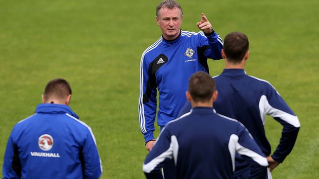 Michael O'Neill takes a training session in Luxembourg on Sunday