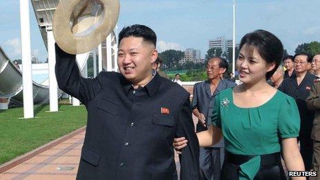 File photo: North Korean leader Kim Jong-Un and his wife Ri Sol-Ju, 25 July, 2012