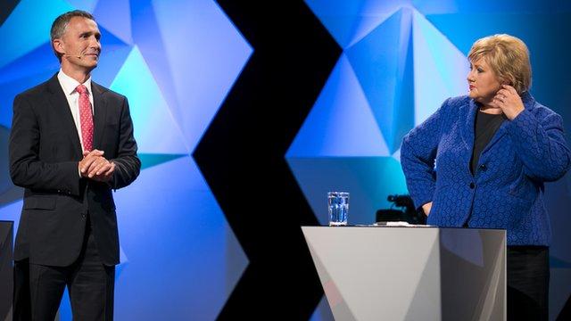 Prime Minister Jens Stoltenberg and opposition leader Erna Solberg debate on national TV in Oslo